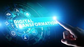Преобразование цифров, нарушение, нововведение Дело и современная концепция технологии стоковые изображения