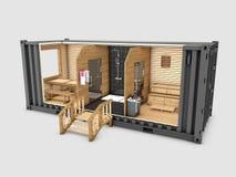 Преобразованный старый контейнер для перевозок в сауну, серый цвет 3d изолированный иллюстрацией иллюстрация вектора