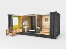 Преобразованный старый контейнер для перевозок в сауну, серый цвет 3d изолированный иллюстрацией бесплатная иллюстрация
