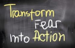 Преобразуйте страх в принципиальную схему действия стоковые изображения