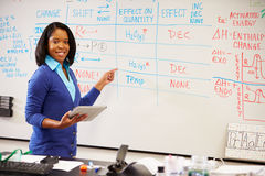 Преподаватель точных наук стоя на Whiteboard с таблеткой цифров Стоковые Изображения