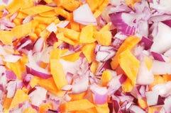 прерванный морковью красный цвет лука Стоковая Фотография