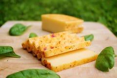 Прерванный сыр на доске с шпинатом Стоковое Изображение RF