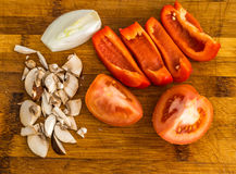Прерванный томат, болгарский перец, лук, гриб Стоковое Изображение