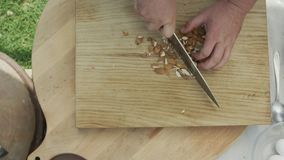 Прерывать кучу некоторых сырцовых семян миндалины акции видеоматериалы