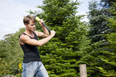 прерывающ сад его древесина человека Стоковые Изображения RF