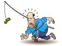 Преследование денег Жирный человек бежит за наличные Деятельности при спорт иллюстрация штока