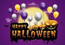 преследовать дом и полнолуние с тыквами и призраком, party счастливая предпосылка ночи хеллоуина Стоковая Фотография