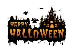 преследовать дом и полнолуние с тыквами и призраком, party счастливая предпосылка ночи хеллоуина Стоковое Фото