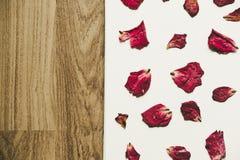 Пресса высушила розовый цветок с лепестками, на поле белой бумаги и древесины, винтажный тон Стоковое Изображение