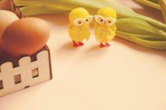 Прессформа печенья цыпленка яичек и пасхи и 2 шикарных декоративных диаграммы Стоковая Фотография RF