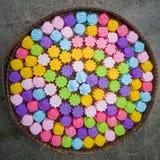 Прессформы выпечки силикона, красочные цветки Красочный силикона mo Стоковые Фото