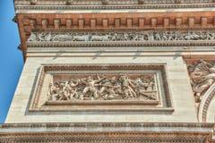 Прессформы и украшения на Триумфальной Арке в Париже франк Стоковые Изображения RF