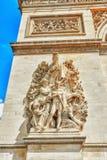 Прессформы и украшения на Триумфальной Арке в Париже франк Стоковая Фотография RF