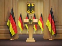 Пресс-конференция или брифинг министра премьер-министра Германии conc иллюстрация штока
