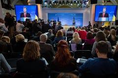Пресс-конференция президента Украины Petro Poroshenko Стоковые Фото