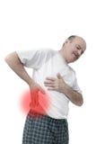 Престарелое страдание от болей в малом задней части: почка Стоковые Изображения