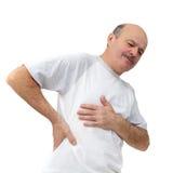 Престарелое страдание от болей в малом задней части: почка Стоковые Изображения RF