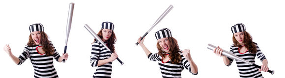 Преступник каторжник в striped форме Стоковые Фотографии RF