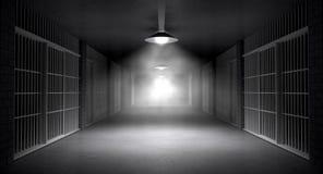 Преследовать коридор и клетки тюрьмы Стоковая Фотография RF