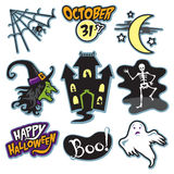 Преследовать собрание хеллоуина дома с ведьмой, скелетом, и призраком иллюстрация штока