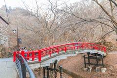 Префектура Gunma, Япония - 18-ое декабря 2016: Красный мост в Ika Стоковые Фото