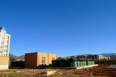Предварительный завод по обработке сточных водов стоковая фотография
