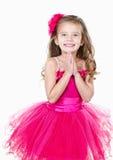 Прелестная маленькая девочка в изолированном платье принцессы Стоковая Фотография