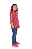 Прелестная маленькая девочка с красной рубашкой шотландки Стоковое Изображение RF