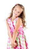 Прелестная усмехаясь маленькая девочка в iso платья принцессы Стоковые Изображения