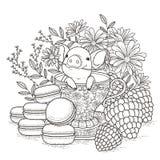 Прелестная piggy страница расцветки иллюстрация вектора