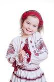 Прелестно маленькая девочка в украинском национальном костюме Стоковая Фотография