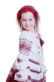 Прелестно маленькая девочка в украинском национальном костюме Стоковые Изображения RF