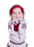 Прелестно маленькая девочка в украинском национальном костюме Стоковое Фото
