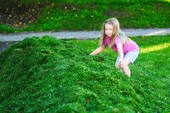 Прелестные дети играя с cutted травой Стоковые Фотографии RF