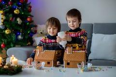 Прелестные дети дошкольного возраста, братья мальчика, украшая gingerbrea Стоковые Фотографии RF
