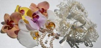 Прелестные bridal аксессуары свадьбы Стоковая Фотография