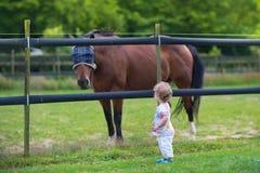 Прелестный маленький ребёнок с лошадью на ферме в summ Стоковые Изображения RF