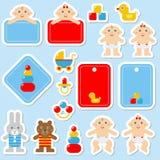 Прелестный младенец связал красочные установленные значки стикера бесплатная иллюстрация
