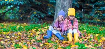 2 прелестных девушки в лесе на теплой солнечной осени Стоковые Изображения