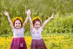 2 прелестных девушки играя на луге Стоковая Фотография