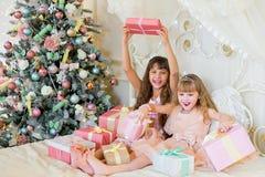 2 прелестных девушки с подарками рождества Стоковые Фото