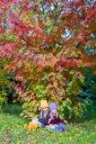 2 прелестных девушки outdoors в лесе осени Стоковая Фотография RF