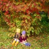 2 прелестных девушки outdoors в лесе осени Стоковые Фото