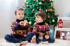 2 прелестных дети, брать мальчика, есть печенья и выпивать Стоковое Изображение