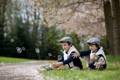 2 прелестных дети дошкольного возраста, братья мальчика, играя с litt Стоковые Фотографии RF