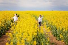 2 прелестных дет, братья, бежать в поле рапса семени масличной культуры Стоковое Изображение