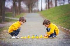 2 прелестных дет, братья мальчика, играя в парке с резиной Стоковая Фотография
