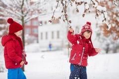 2 прелестных дет, братья мальчика, играя в снежном парке, ho Стоковые Фотографии RF