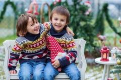2 прелестных дет, братья мальчика, имеющ потеху outdoors в Стоковое Изображение RF